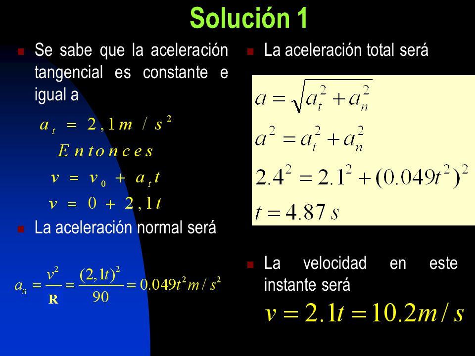 Solución 1 Se sabe que la aceleración tangencial es constante e igual a. La aceleración normal será.