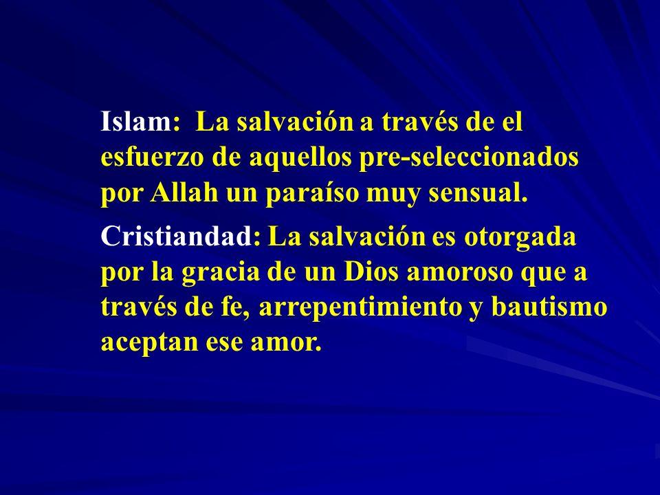 Islam: La salvación a través de el esfuerzo de aquellos pre-seleccionados por Allah un paraíso muy sensual.