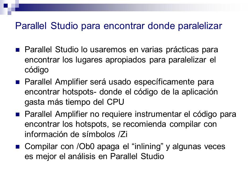 Parallel Studio para encontrar donde paralelizar