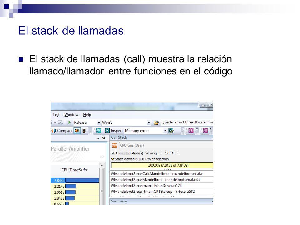 El stack de llamadas El stack de llamadas (call) muestra la relación llamado/llamador entre funciones en el código.