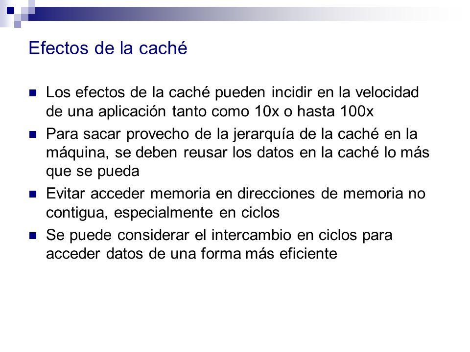 Efectos de la caché Los efectos de la caché pueden incidir en la velocidad de una aplicación tanto como 10x o hasta 100x.