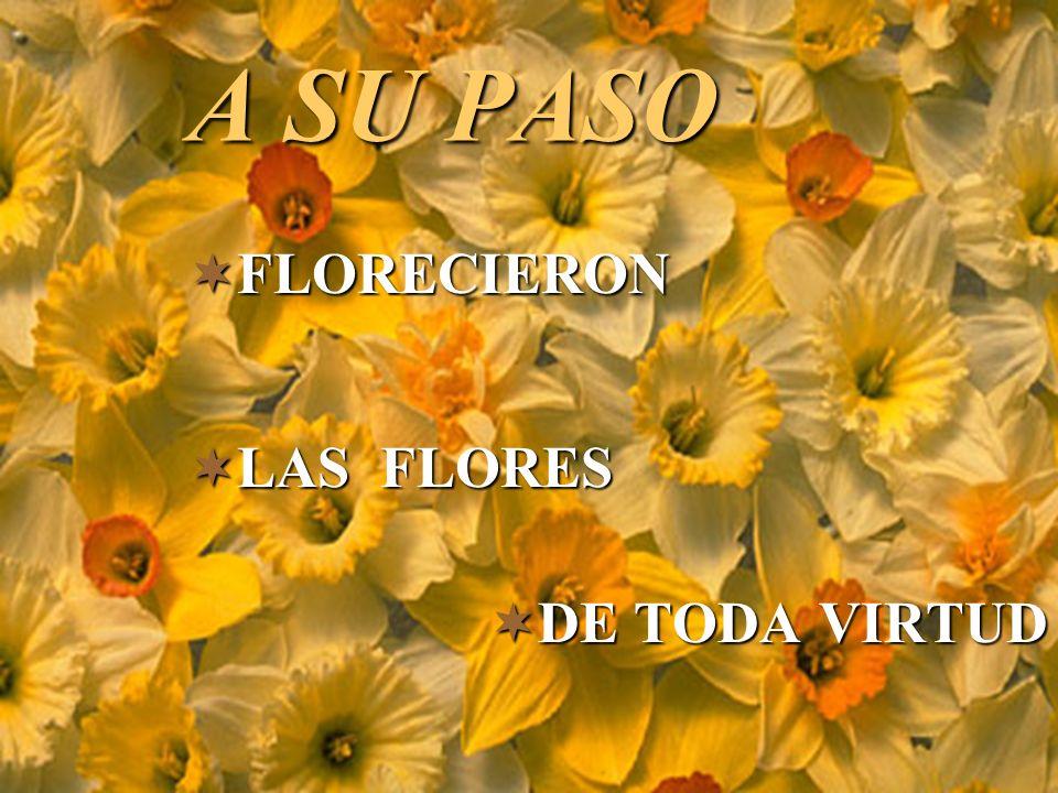 A SU PASO FLORECIERON LAS FLORES DE TODA VIRTUD