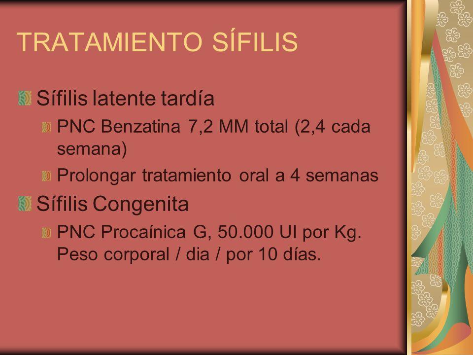 TRATAMIENTO SÍFILIS Sífilis latente tardía Sífilis Congenita