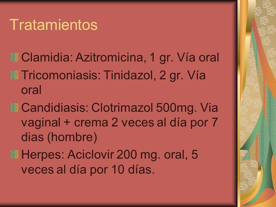 Tratamientos Clamidia: Azitromicina, 1 gr. Vía oral