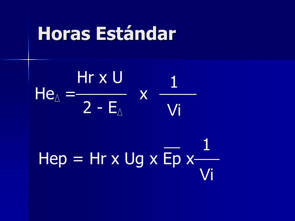 Horas Estándar Hr x U 1 He = x 2 - E Vi 1 Hep = Hr x Ug x Ep x Vi