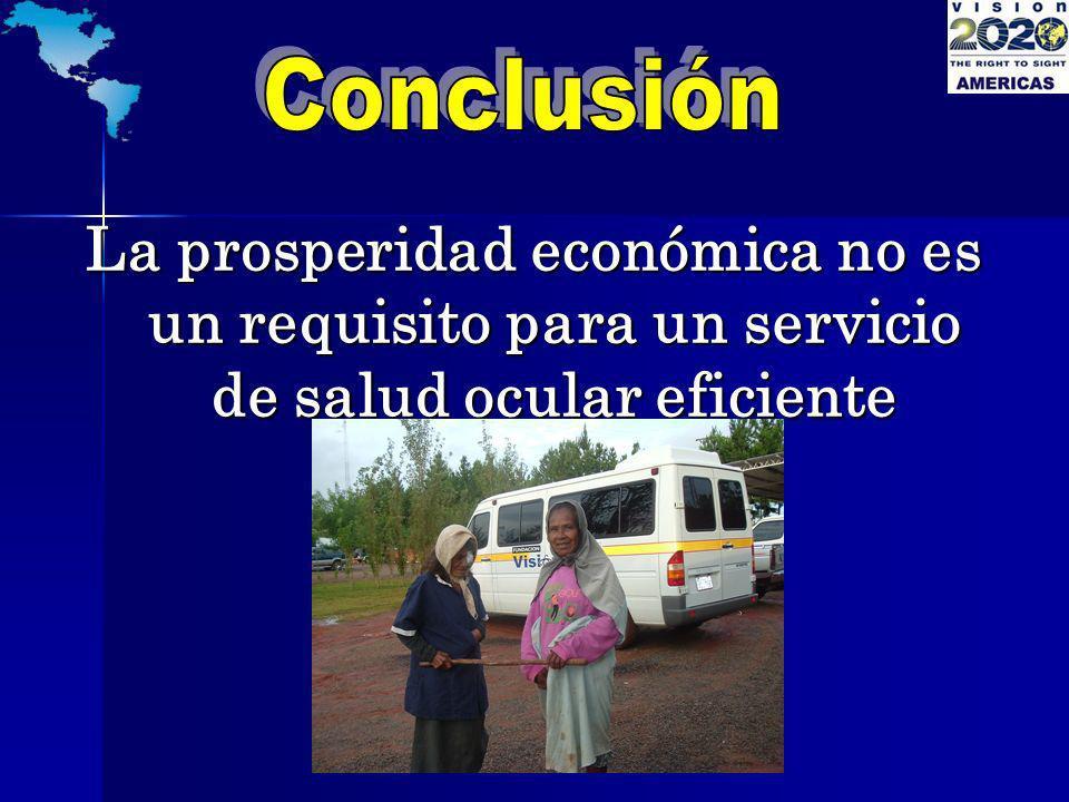 Conclusión La prosperidad económica no es un requisito para un servicio de salud ocular eficiente
