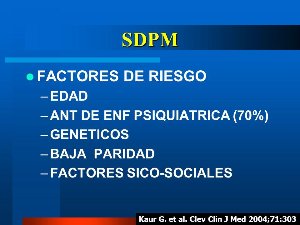 SDPM FACTORES DE RIESGO EDAD ANT DE ENF PSIQUIATRICA (70%) GENETICOS