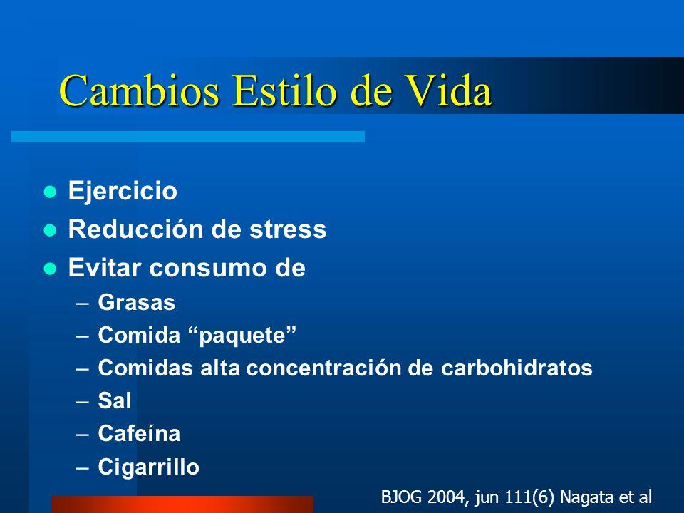 Cambios Estilo de Vida Ejercicio Reducción de stress Evitar consumo de
