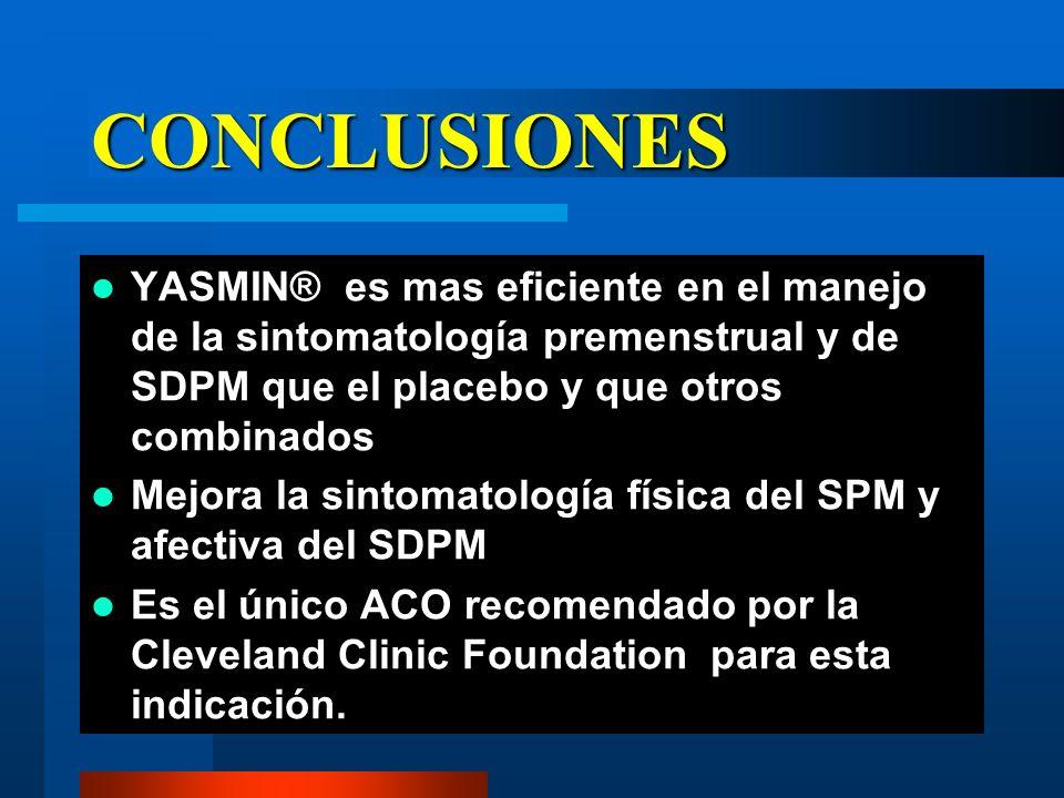 CONCLUSIONES YASMIN® es mas eficiente en el manejo de la sintomatología premenstrual y de SDPM que el placebo y que otros combinados.