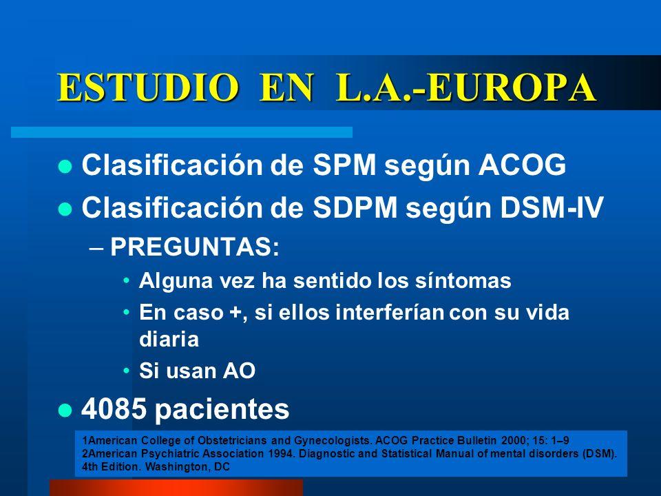ESTUDIO EN L.A.-EUROPA Clasificación de SPM según ACOG