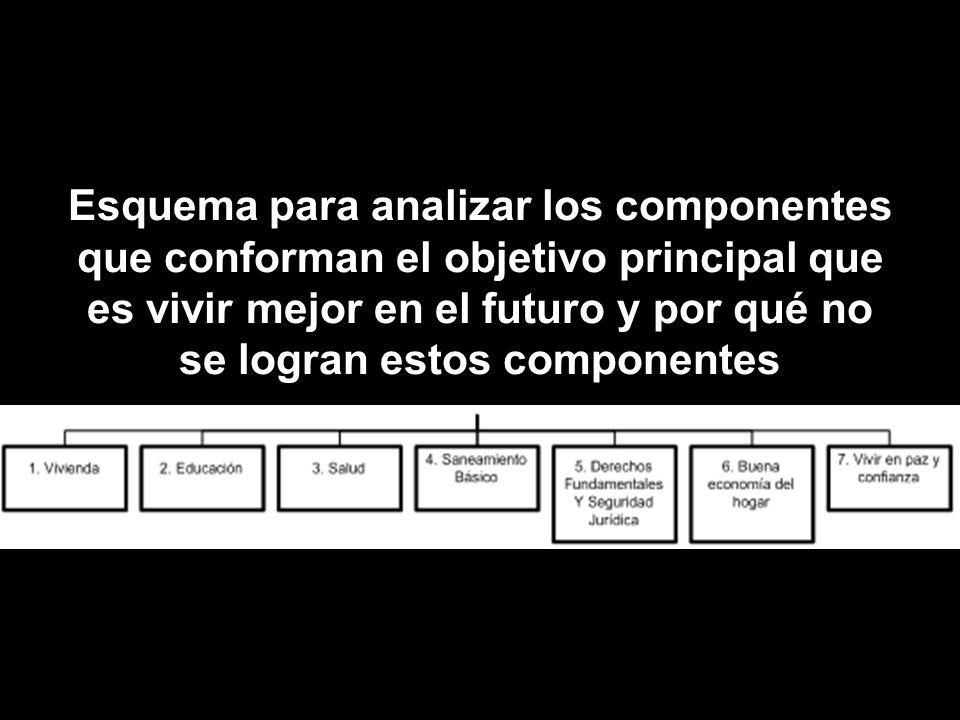 Esquema para analizar los componentes que conforman el objetivo principal que es vivir mejor en el futuro y por qué no se logran estos componentes