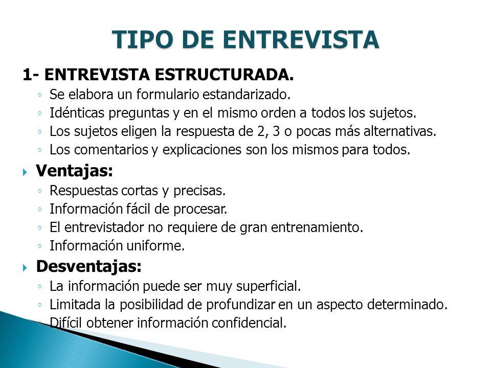 TIPO DE ENTREVISTA 1- ENTREVISTA ESTRUCTURADA. Ventajas: Desventajas: