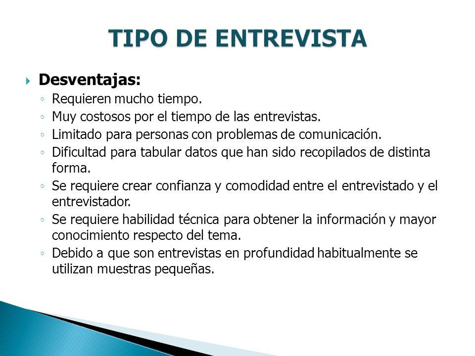 TIPO DE ENTREVISTA Desventajas: Requieren mucho tiempo.