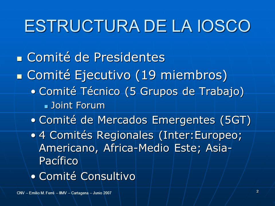 ESTRUCTURA DE LA IOSCO Comité de Presidentes