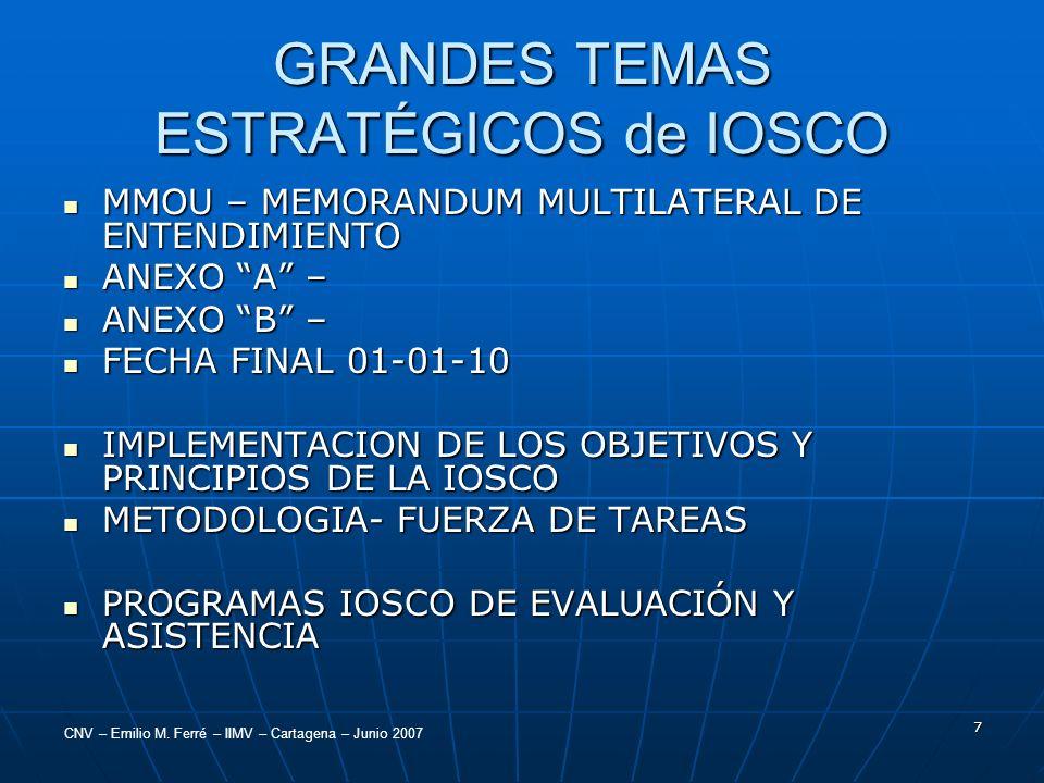 GRANDES TEMAS ESTRATÉGICOS de IOSCO