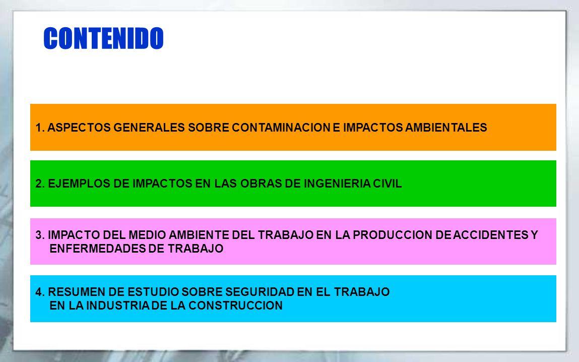 CONTENIDO 1. ASPECTOS GENERALES SOBRE CONTAMINACION E IMPACTOS AMBIENTALES. 2. EJEMPLOS DE IMPACTOS EN LAS OBRAS DE INGENIERIA CIVIL.