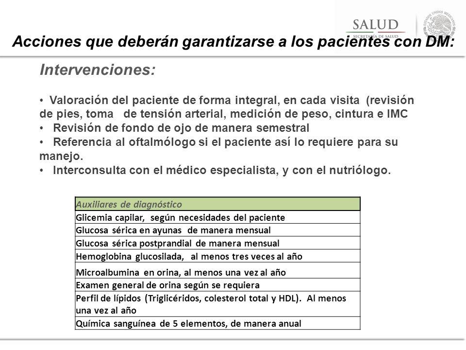 Acciones que deberán garantizarse a los pacientes con DM: