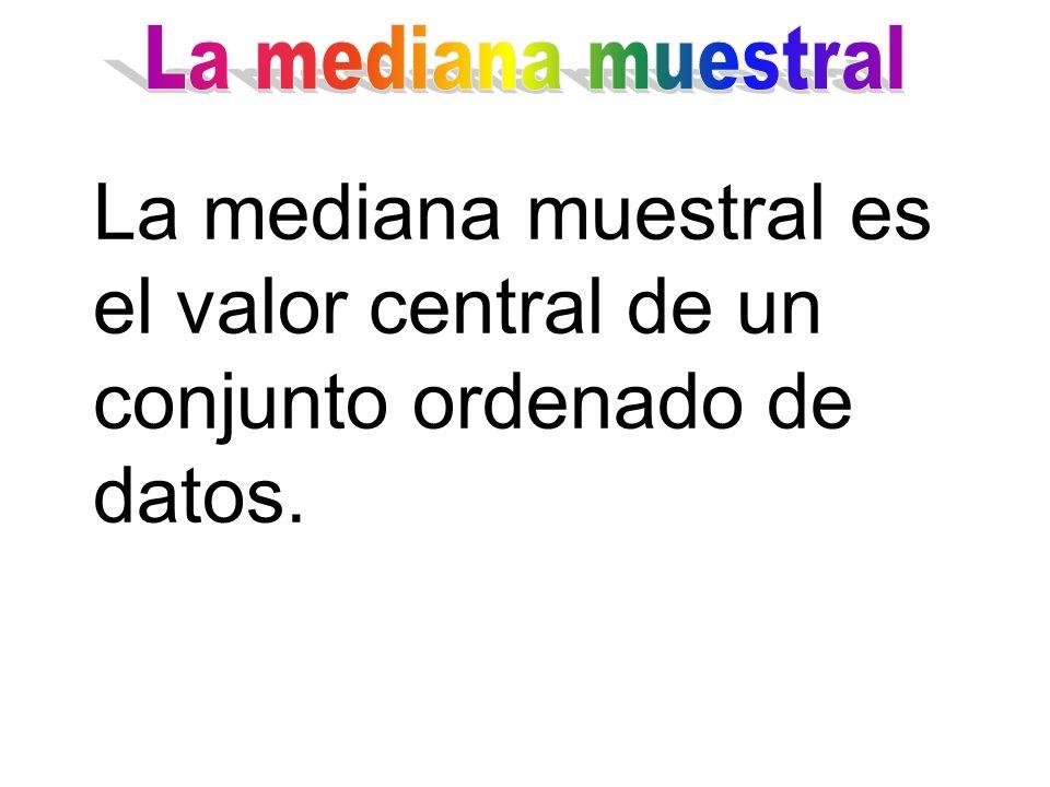 La mediana muestral La mediana muestral es el valor central de un conjunto ordenado de datos.