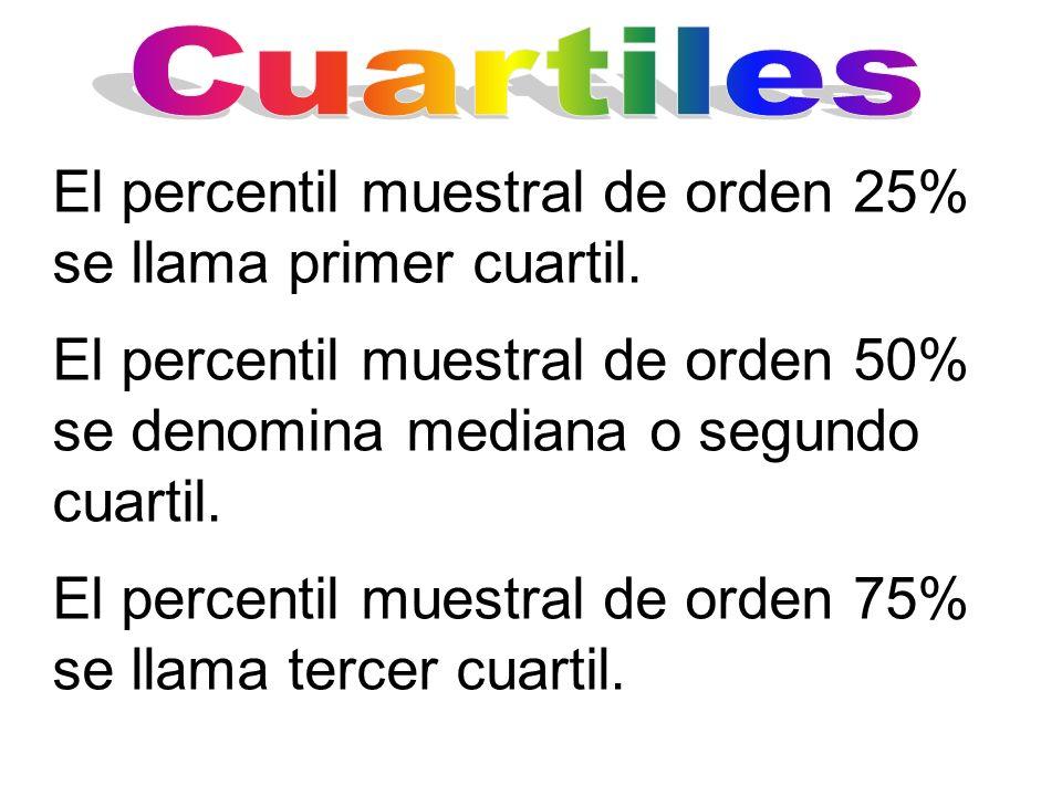 El percentil muestral de orden 25% se llama primer cuartil.