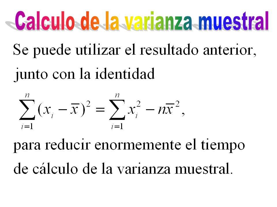 Calculo de la varianza muestral