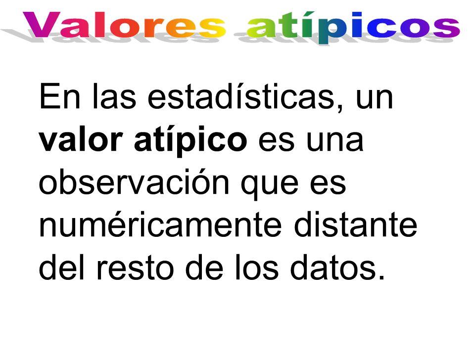 Valores atípicos En las estadísticas, un valor atípico es una observación que es numéricamente distante del resto de los datos.