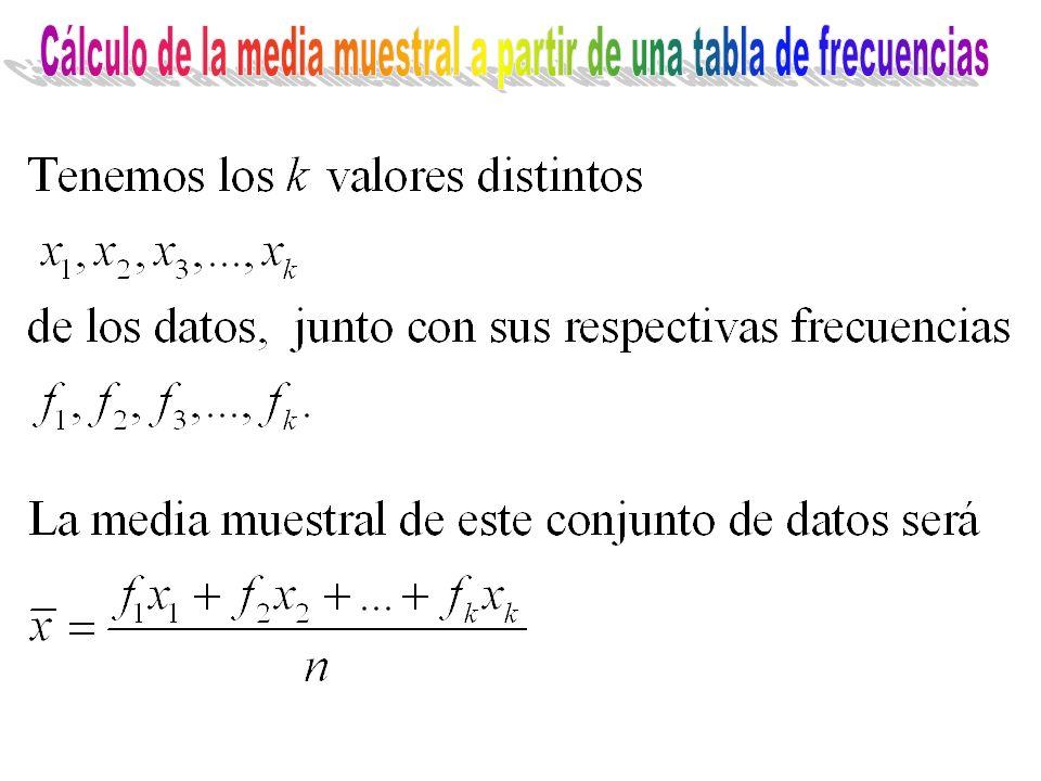 Cálculo de la media muestral a partir de una tabla de frecuencias
