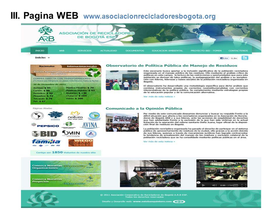 III. Pagina WEB www.asociacionrecicladoresbogota.org