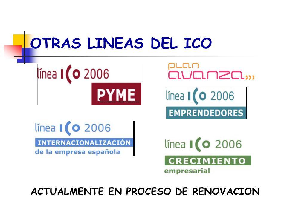 OTRAS LINEAS DEL ICO ACTUALMENTE EN PROCESO DE RENOVACION