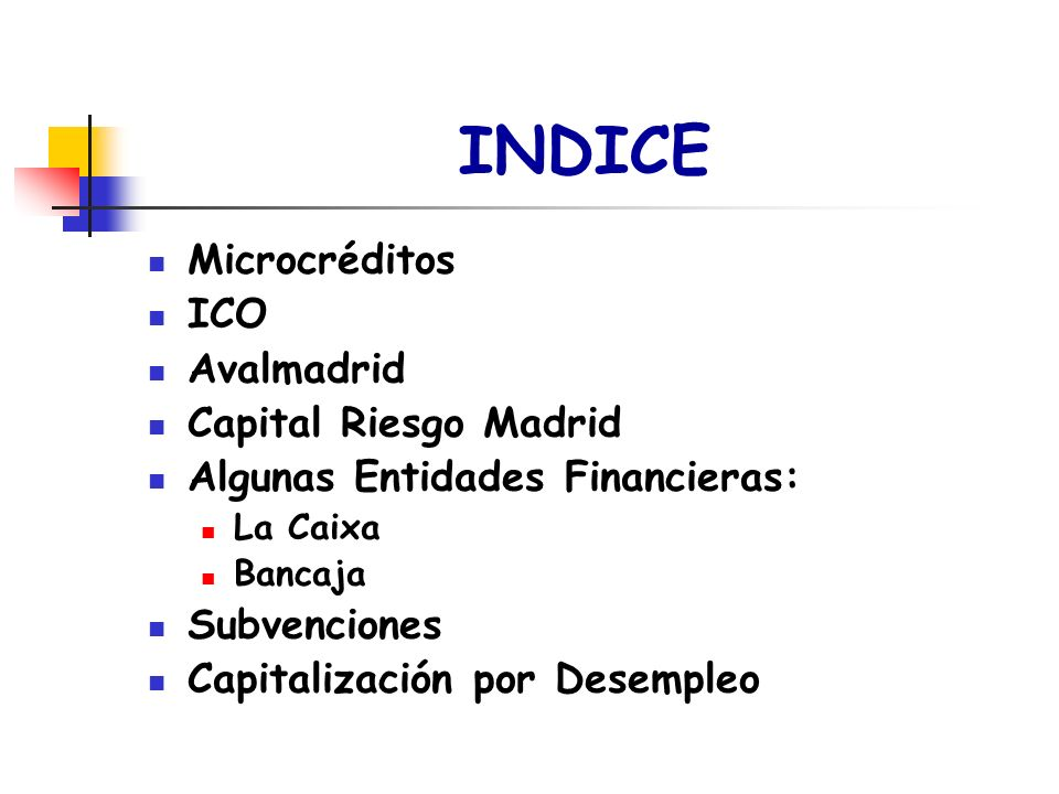INDICE Microcréditos ICO Avalmadrid Capital Riesgo Madrid