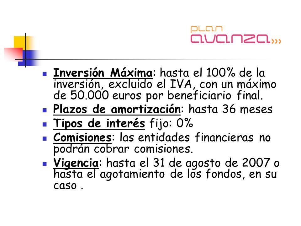 Inversión Máxima: hasta el 100% de la inversión, excluido el IVA, con un máximo de 50.000 euros por beneficiario final.