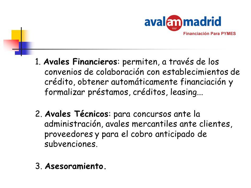 1. Avales Financieros: permiten, a través de los convenios de colaboración con establecimientos de crédito, obtener automáticamente financiación y formalizar préstamos, créditos, leasing...