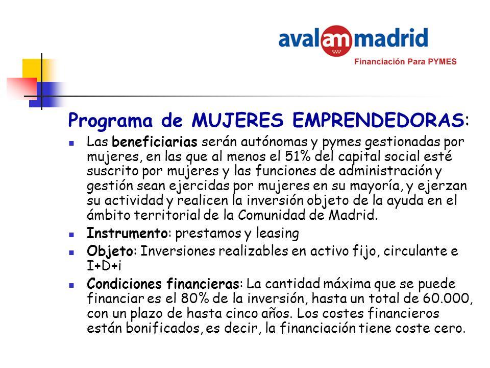 Programa de MUJERES EMPRENDEDORAS: