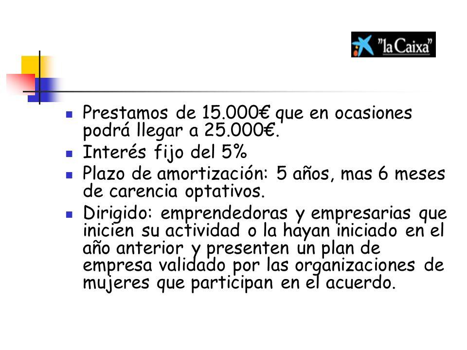 Prestamos de 15.000€ que en ocasiones podrá llegar a 25.000€.