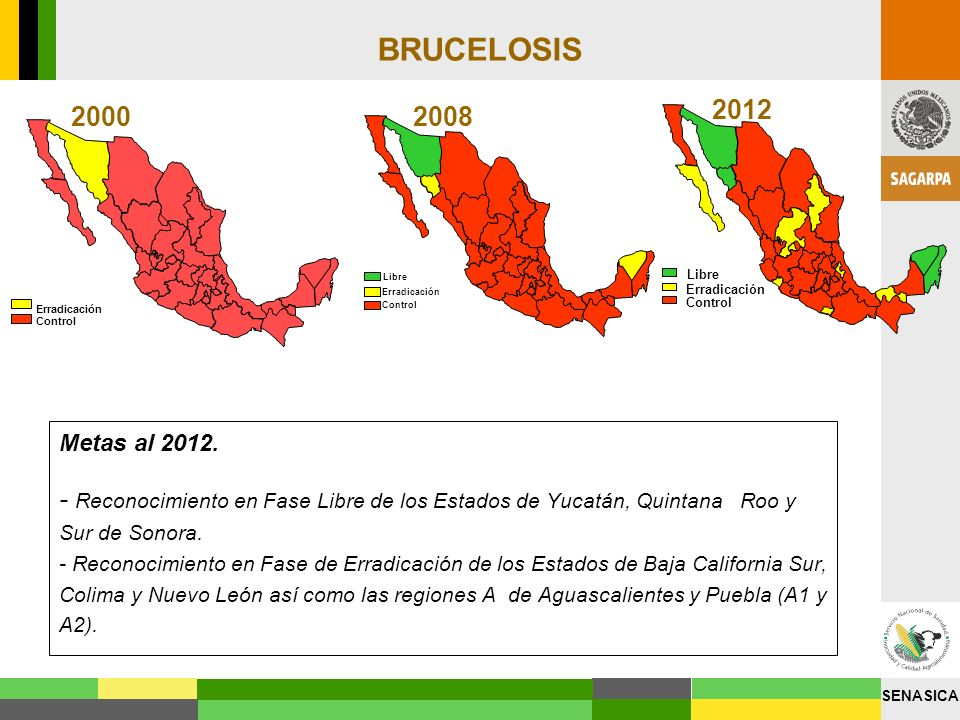 BRUCELOSISErradicación. Control. Libre. 2012. Erradicación. Control. 2000. Erradicación. Control. Libre.