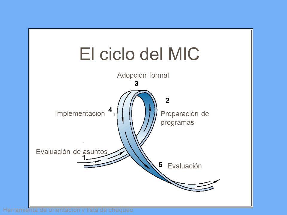 El ciclo del MIC Adopción formal 3 2 4 Implementación Preparación de