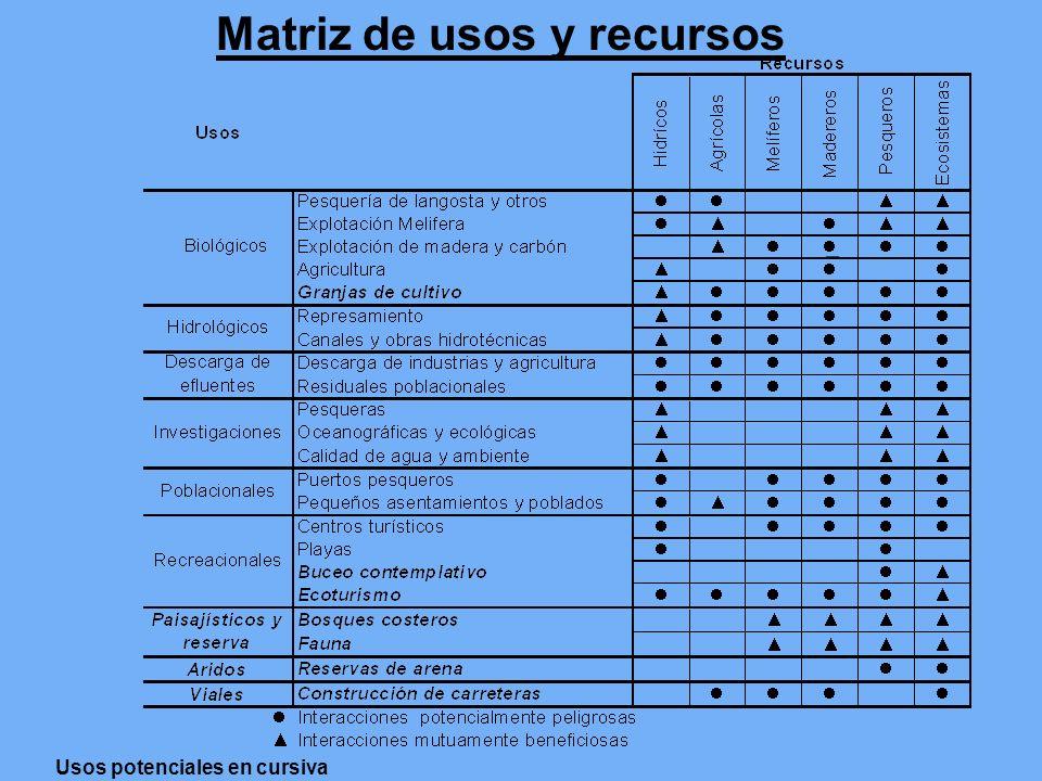 Matriz de usos y recursos