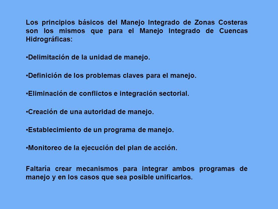 Los principios básicos del Manejo Integrado de Zonas Costeras son los mismos que para el Manejo Integrado de Cuencas Hidrográficas: