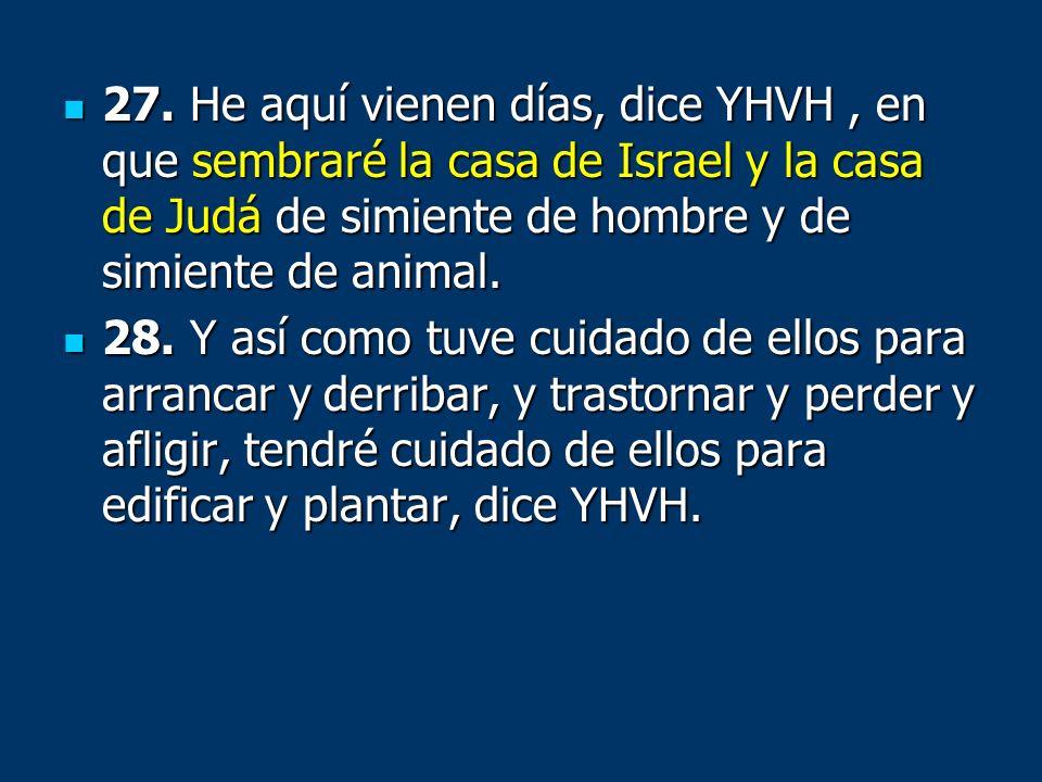 27. He aquí vienen días, dice YHVH , en que sembraré la casa de Israel y la casa de Judá de simiente de hombre y de simiente de animal.