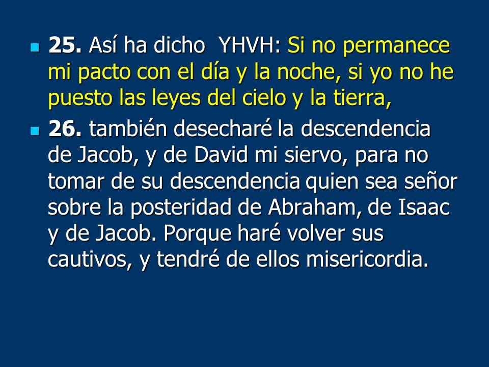25. Así ha dicho YHVH: Si no permanece mi pacto con el día y la noche, si yo no he puesto las leyes del cielo y la tierra,