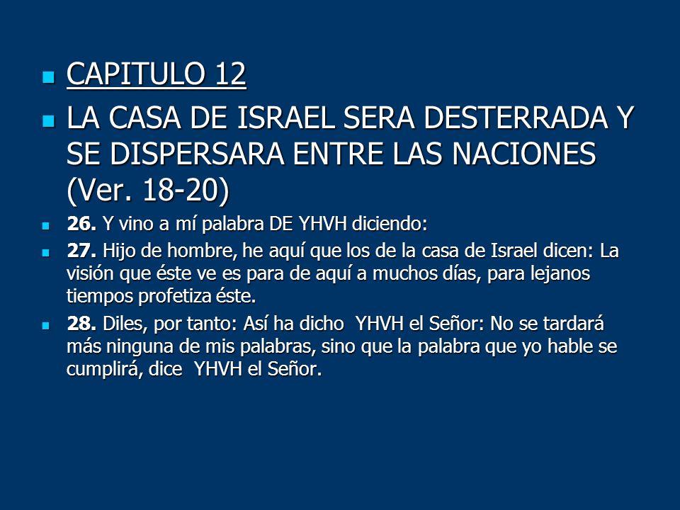 CAPITULO 12LA CASA DE ISRAEL SERA DESTERRADA Y SE DISPERSARA ENTRE LAS NACIONES (Ver. 18-20) 26. Y vino a mí palabra DE YHVH diciendo: