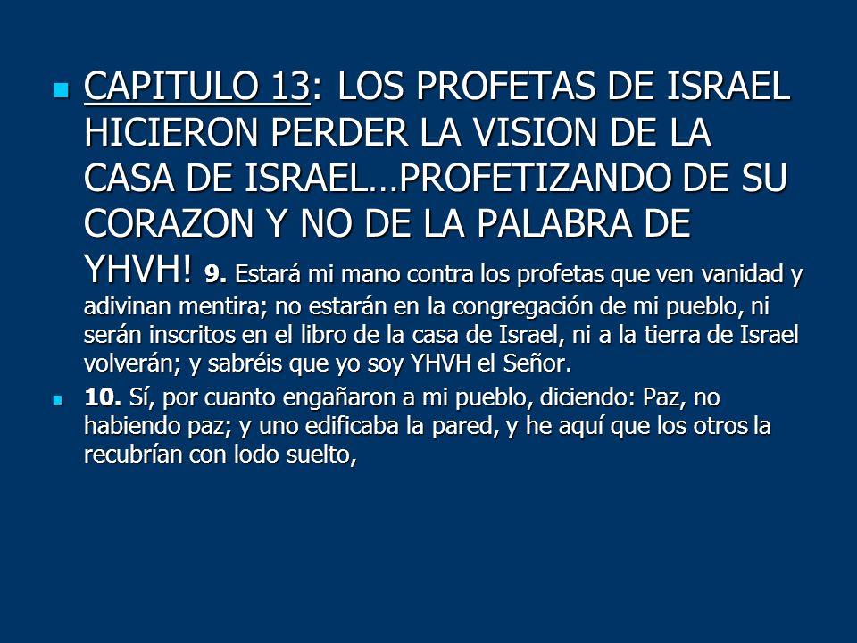 CAPITULO 13: LOS PROFETAS DE ISRAEL HICIERON PERDER LA VISION DE LA CASA DE ISRAEL…PROFETIZANDO DE SU CORAZON Y NO DE LA PALABRA DE YHVH! 9. Estará mi mano contra los profetas que ven vanidad y adivinan mentira; no estarán en la congregación de mi pueblo, ni serán inscritos en el libro de la casa de Israel, ni a la tierra de Israel volverán; y sabréis que yo soy YHVH el Señor.