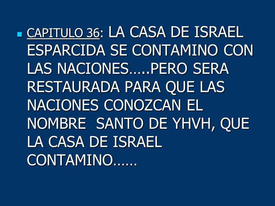 CAPITULO 36: LA CASA DE ISRAEL ESPARCIDA SE CONTAMINO CON LAS NACIONES…..PERO SERA RESTAURADA PARA QUE LAS NACIONES CONOZCAN EL NOMBRE SANTO DE YHVH, QUE LA CASA DE ISRAEL CONTAMINO……
