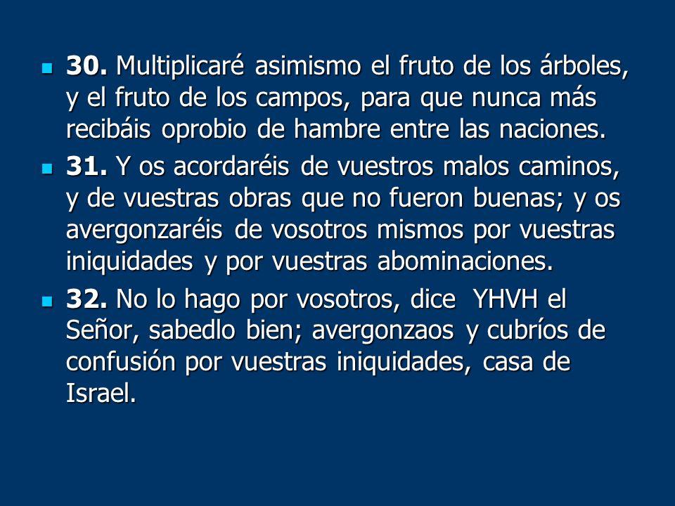 30. Multiplicaré asimismo el fruto de los árboles, y el fruto de los campos, para que nunca más recibáis oprobio de hambre entre las naciones.