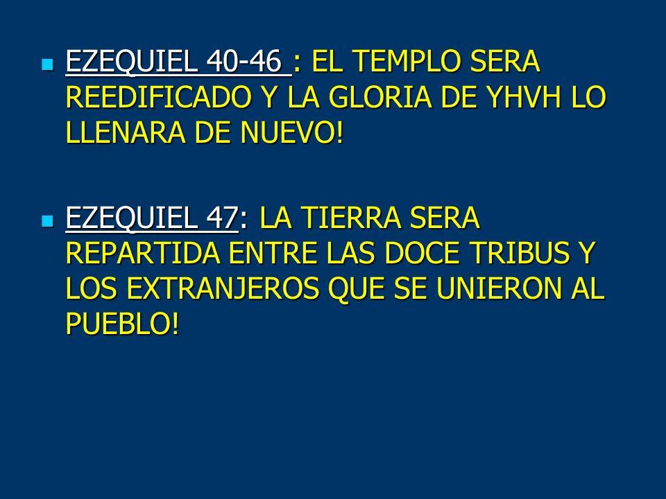 EZEQUIEL 40-46 : EL TEMPLO SERA REEDIFICADO Y LA GLORIA DE YHVH LO LLENARA DE NUEVO!