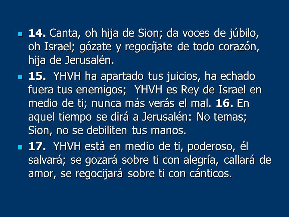 14. Canta, oh hija de Sion; da voces de júbilo, oh Israel; gózate y regocíjate de todo corazón, hija de Jerusalén.