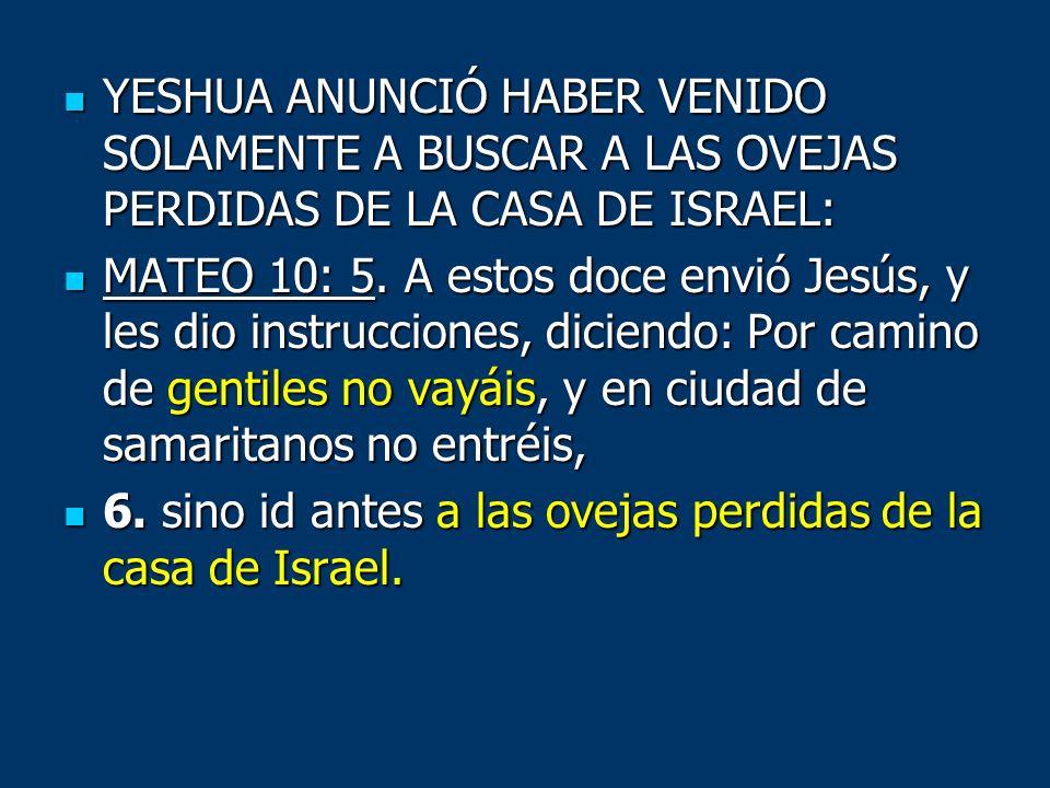 YESHUA ANUNCIÓ HABER VENIDO SOLAMENTE A BUSCAR A LAS OVEJAS PERDIDAS DE LA CASA DE ISRAEL: