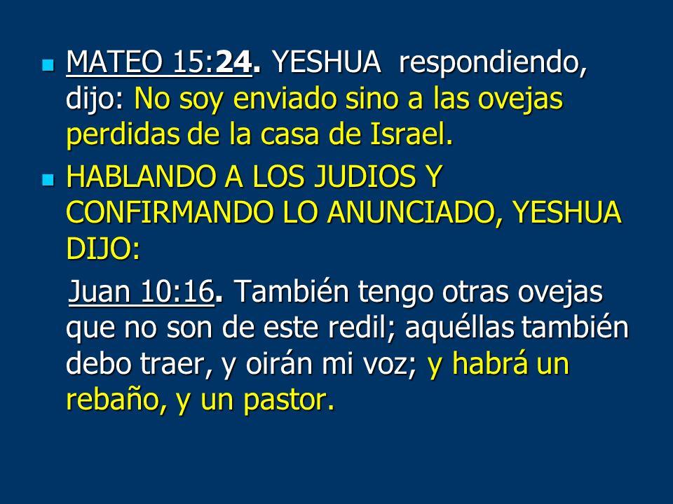 MATEO 15:24. YESHUA respondiendo, dijo: No soy enviado sino a las ovejas perdidas de la casa de Israel.
