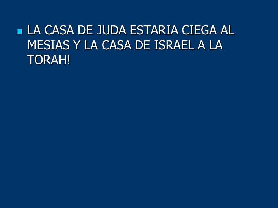 LA CASA DE JUDA ESTARIA CIEGA AL MESIAS Y LA CASA DE ISRAEL A LA TORAH!