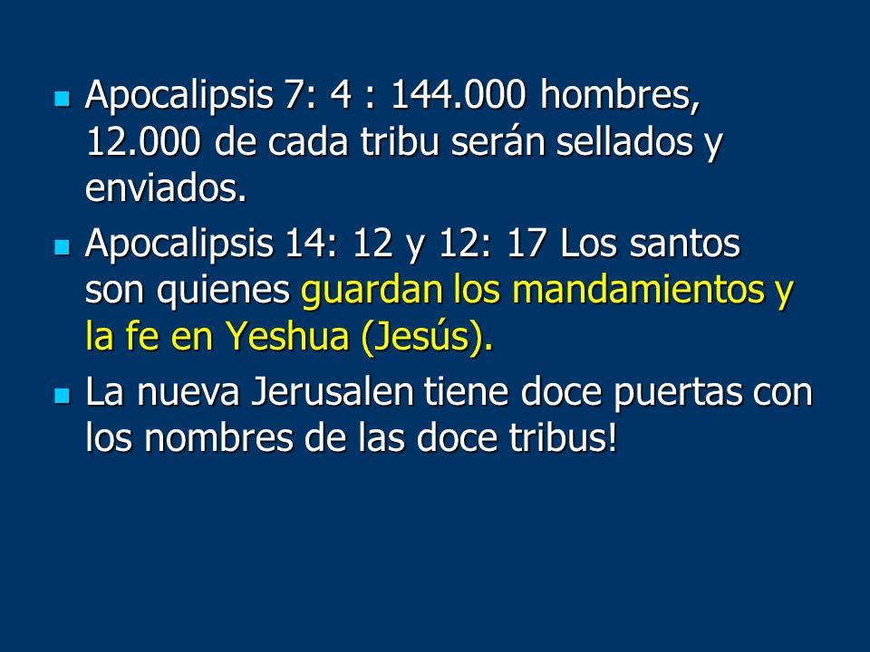 Apocalipsis 7: 4 : 144. 000 hombres, 12