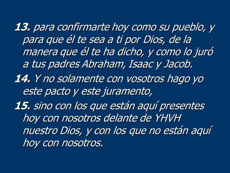 13. para confirmarte hoy como su pueblo, y para que él te sea a ti por Dios, de la manera que él te ha dicho, y como lo juró a tus padres Abraham, Isaac y Jacob.